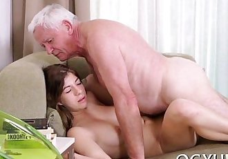 Lustful old boy bonks young angel - 5 min