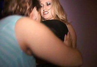 Big tit BBW lesbo Eva makes blonde MILF Olga cum in public