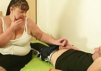 While his wife away he nails her fat mom