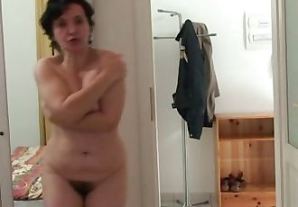 Old bag jumps at her son-in-law\