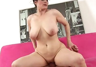 Huge tits shaved pussy whore rides cock
